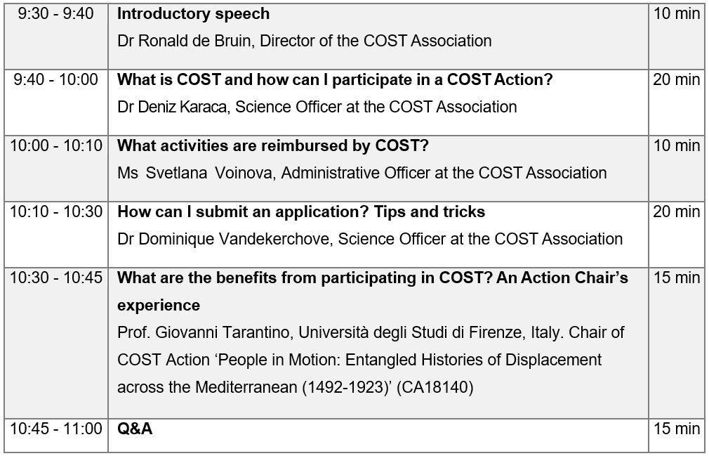 cost info day, cost events, cost programme